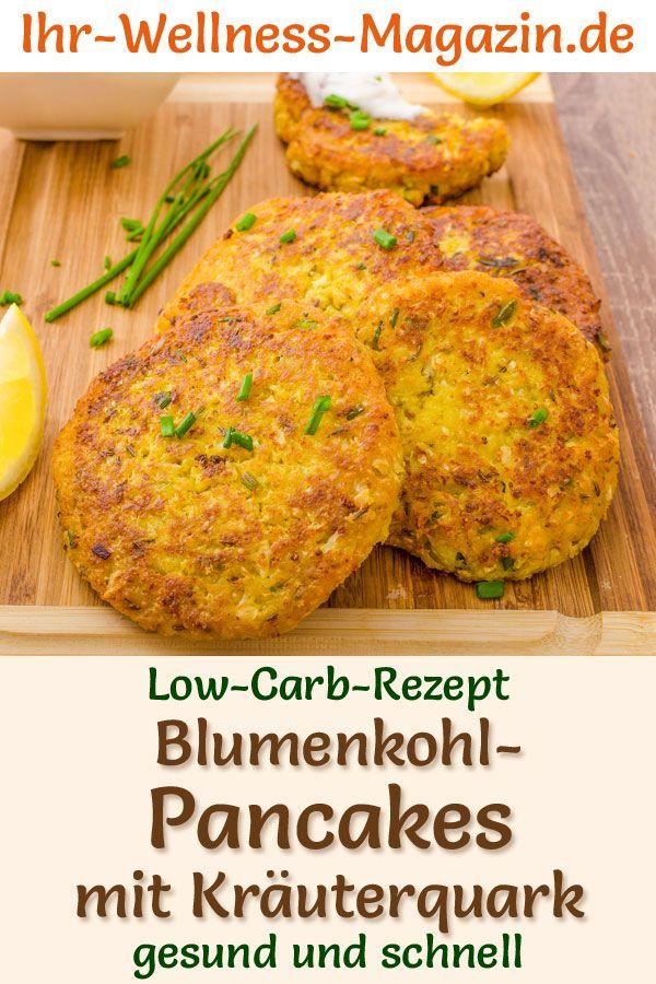 Low Carb Blumenkohl-Pancakes mit Kräuterquark - herzhaftes Pfannkuchen-Rezept