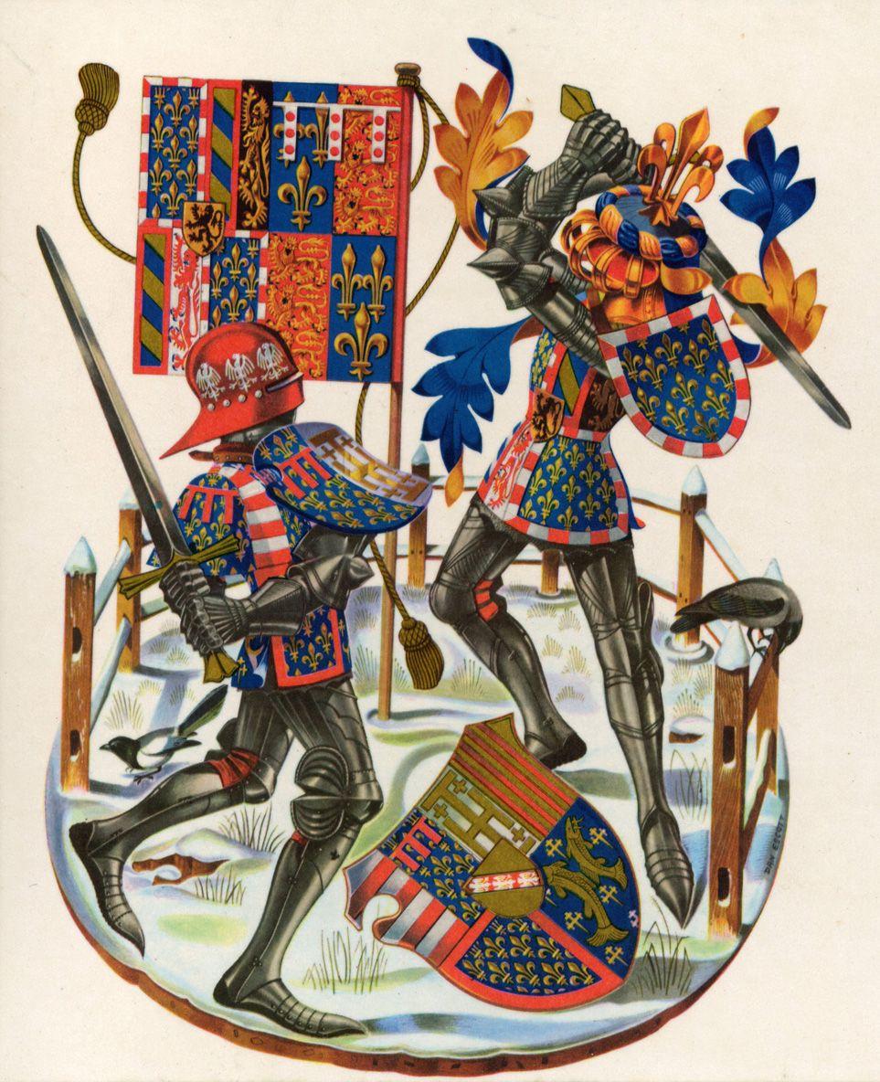 Armorial representation of the battle of Nancy, January 1477. René, Duke of Lorraine (left) v. Charles the Bold, Duke of Burgundy (right). By the late Dan Escott.