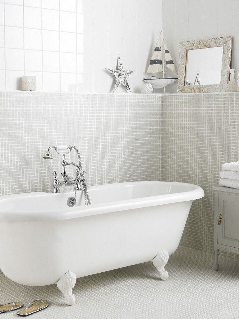 Misty White Mix Mosaic Bathroommosaics Topps
