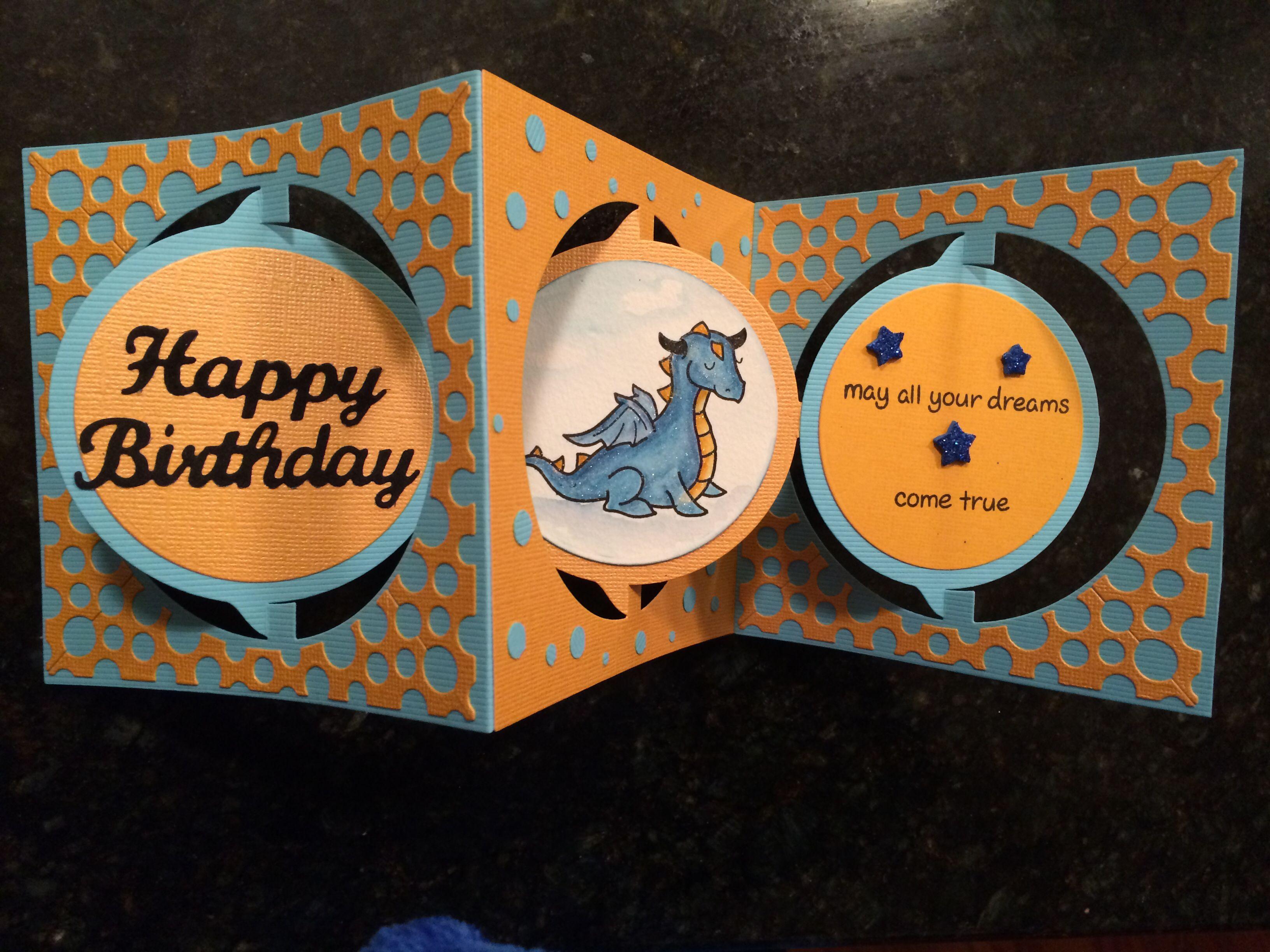 Liam's 6th birthday card with ECD circle accordion die