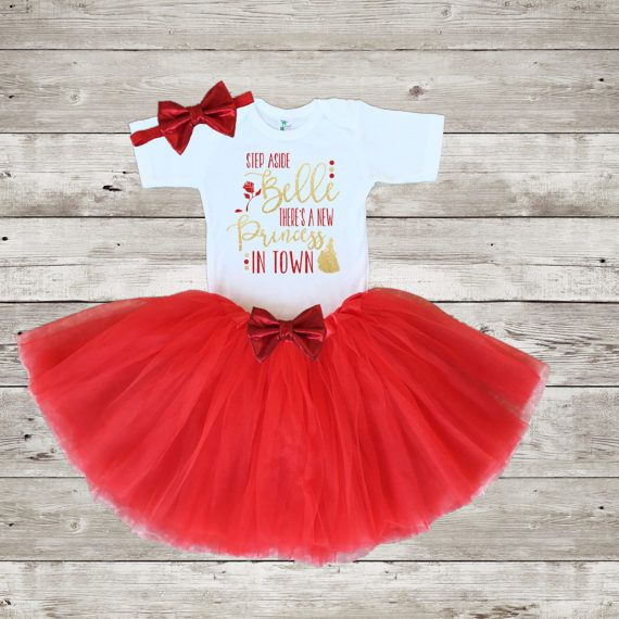 BELLE PRINCESS TUTU ROMPER Red Gold Glitter Design Disney Belle Yellow Dress
