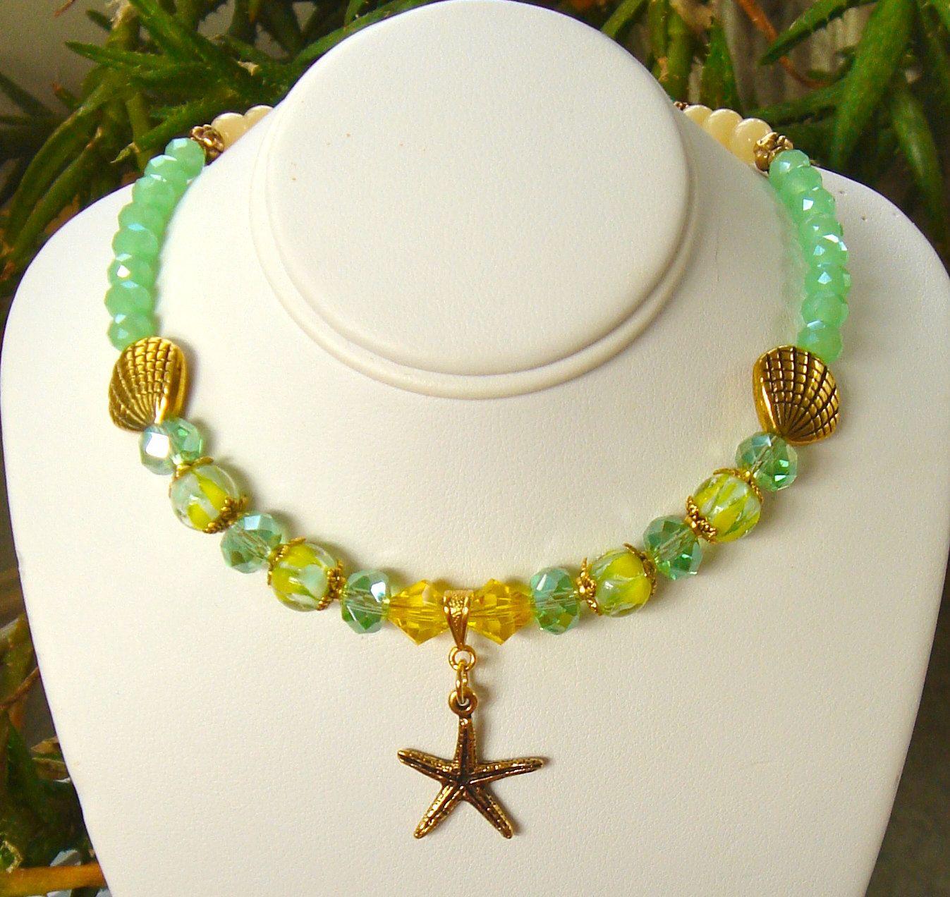 Swarovski Crystals Yellow Green Jade Lampwork Gold Seashell Starfish Necklace by Debra9 on Etsy