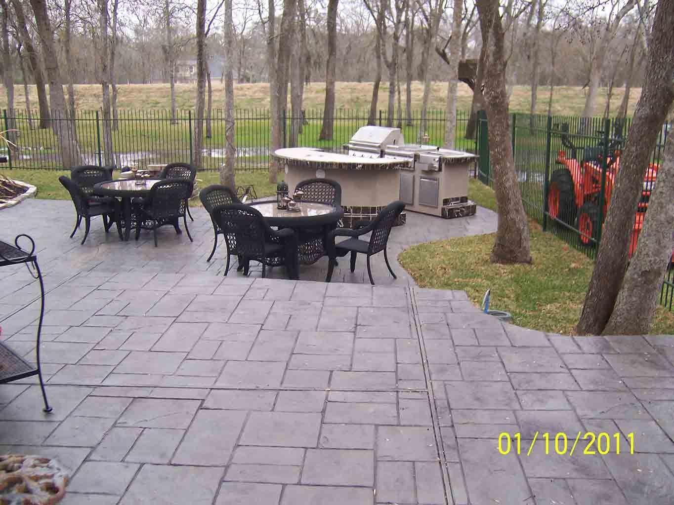 Small Ashlar Slate Increte Of Houston Pool Patio Stamped Concrete Patio
