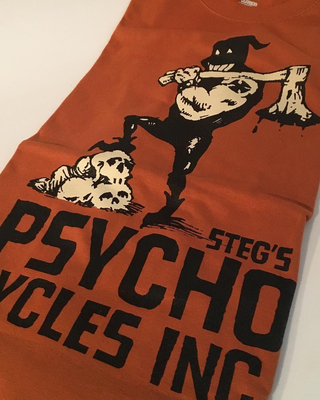 PSYCHO CYCLES INC. Axeman Tee on Burnt Orange Heavy Weight Cotton #psychocycles #nyc #sevensinschoppers #stegvonheintz #chopper #harley #shovelhead #skulls #axeman #axe #executioner