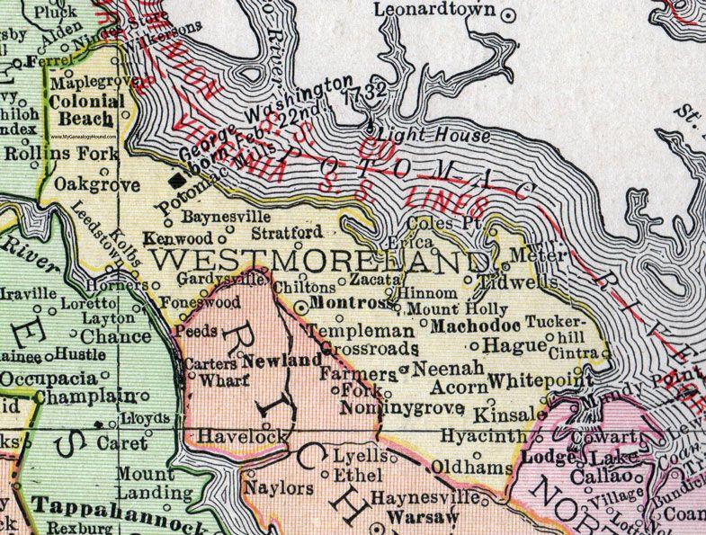 Westmoreland County, Virginia, Map, 1911, Rand McNally ...