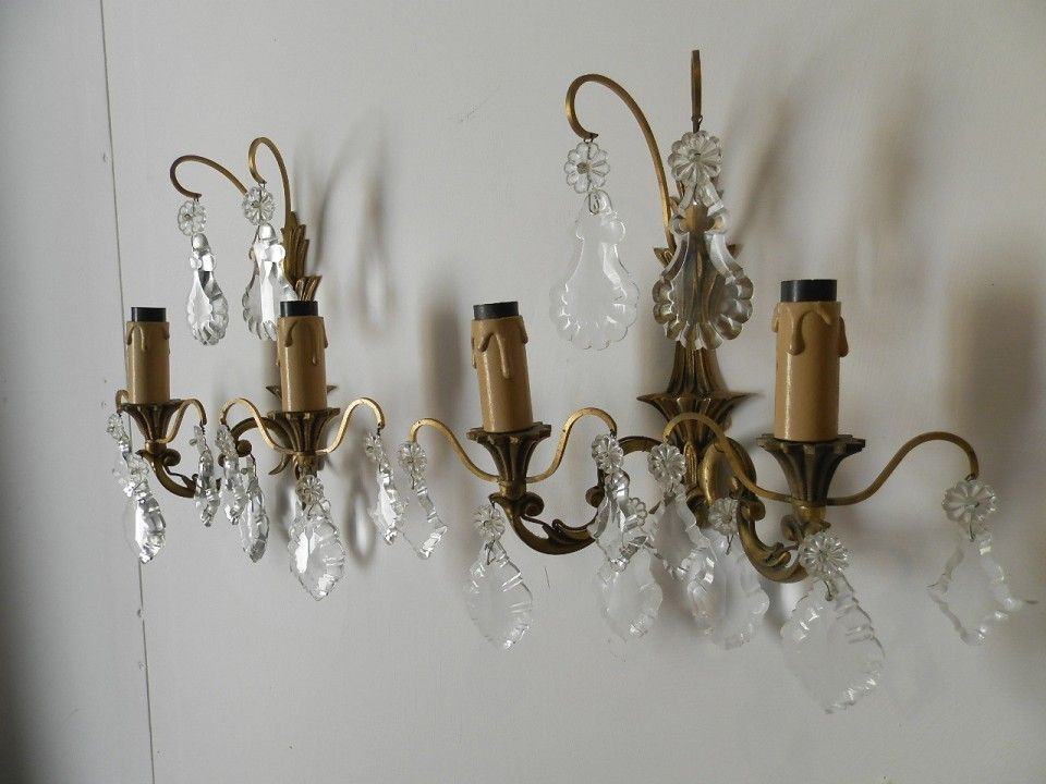 Antique French Crystal Chandelier Wall Lights Pair