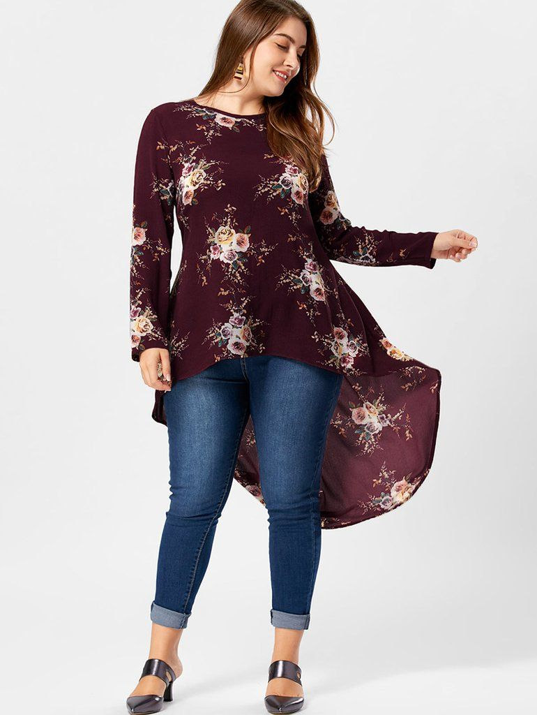 79aec6784ea Plus Size Floral Print High Low Hem Blouse Shirt Women Long Sleeve  Asymmetrical Chiffon Loose Tops
