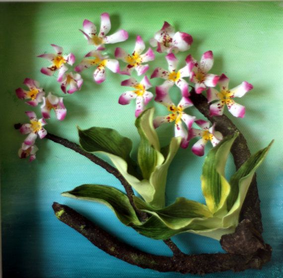 Clay Orchid On Oil Painting Unique Handmade Artwork By