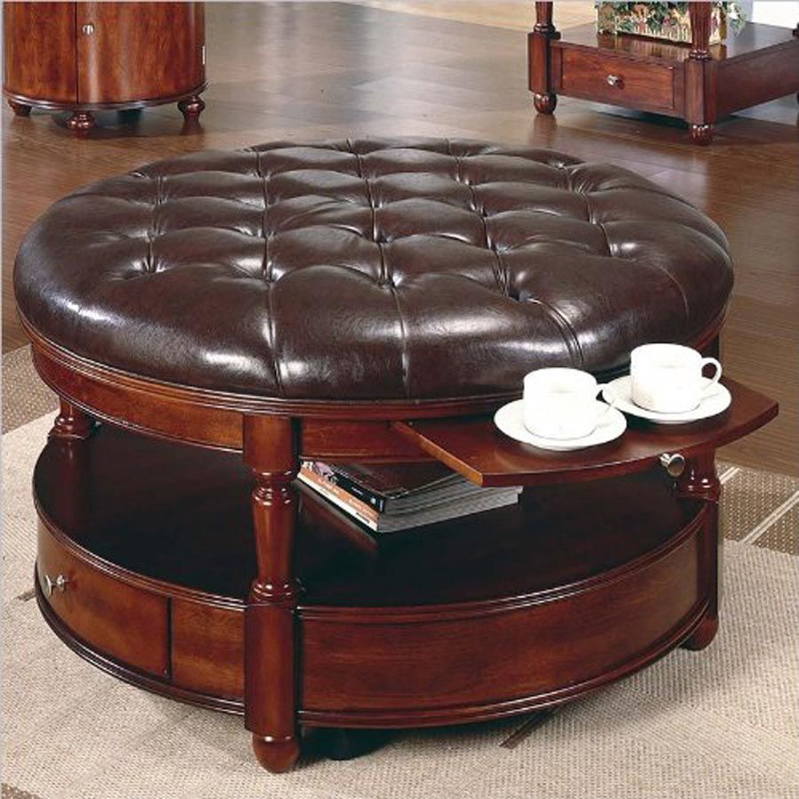 Amazing Leather Top Coffee Table
