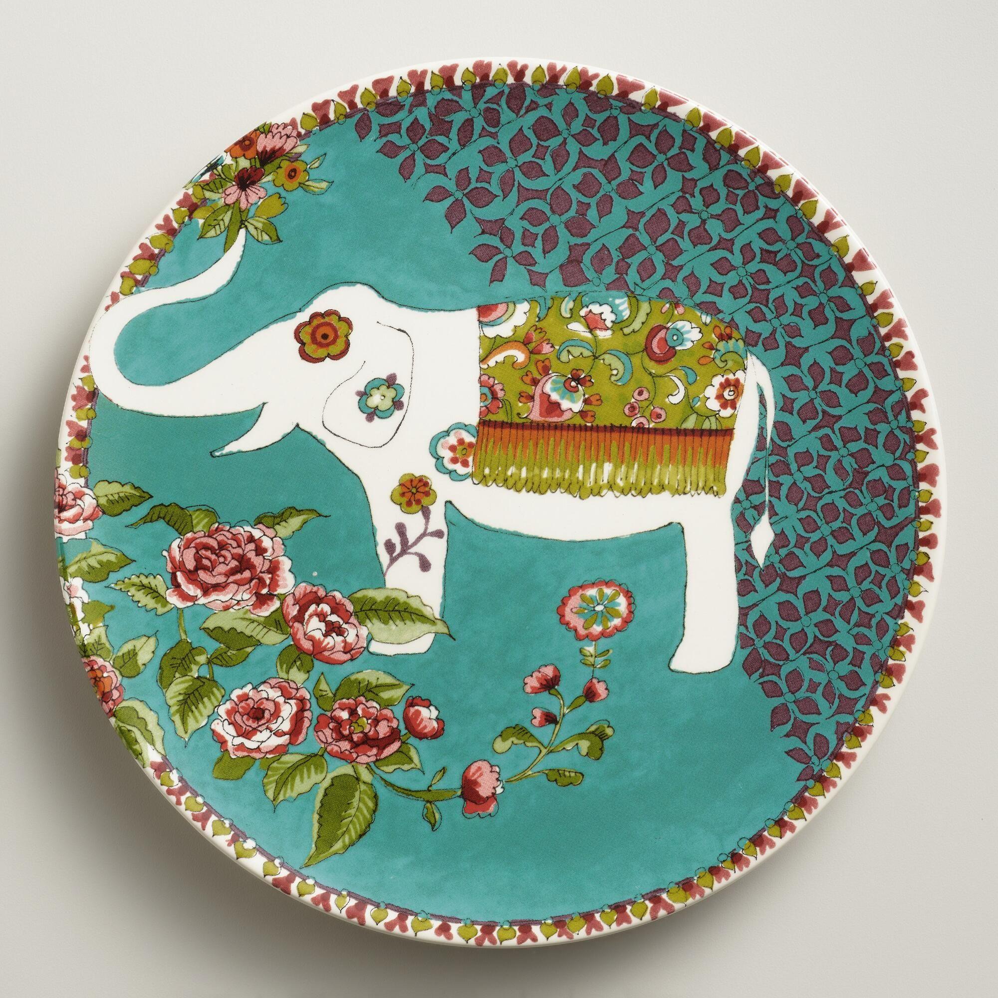 White Nomad Elephant Plates, Set of 4   World Market   Artful Table ...