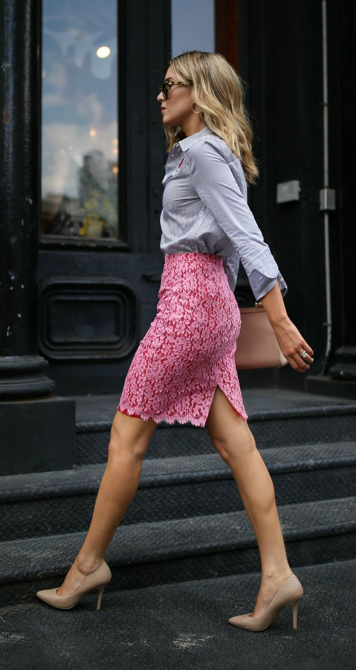 Wear to work style // Pink and red lace pencil skirt, blue ...