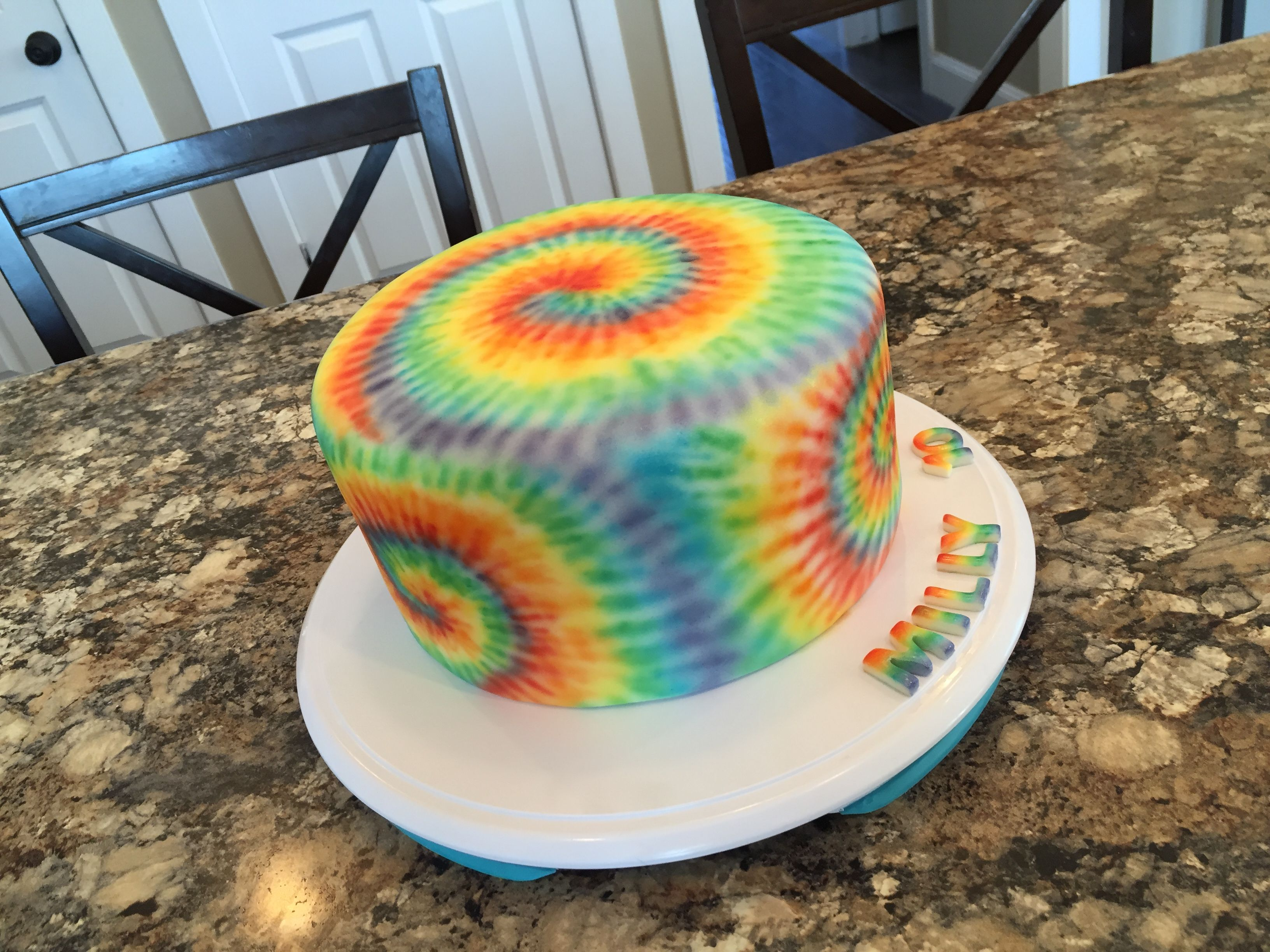Airbrushed Tie Dye On Fondant Covered Cake