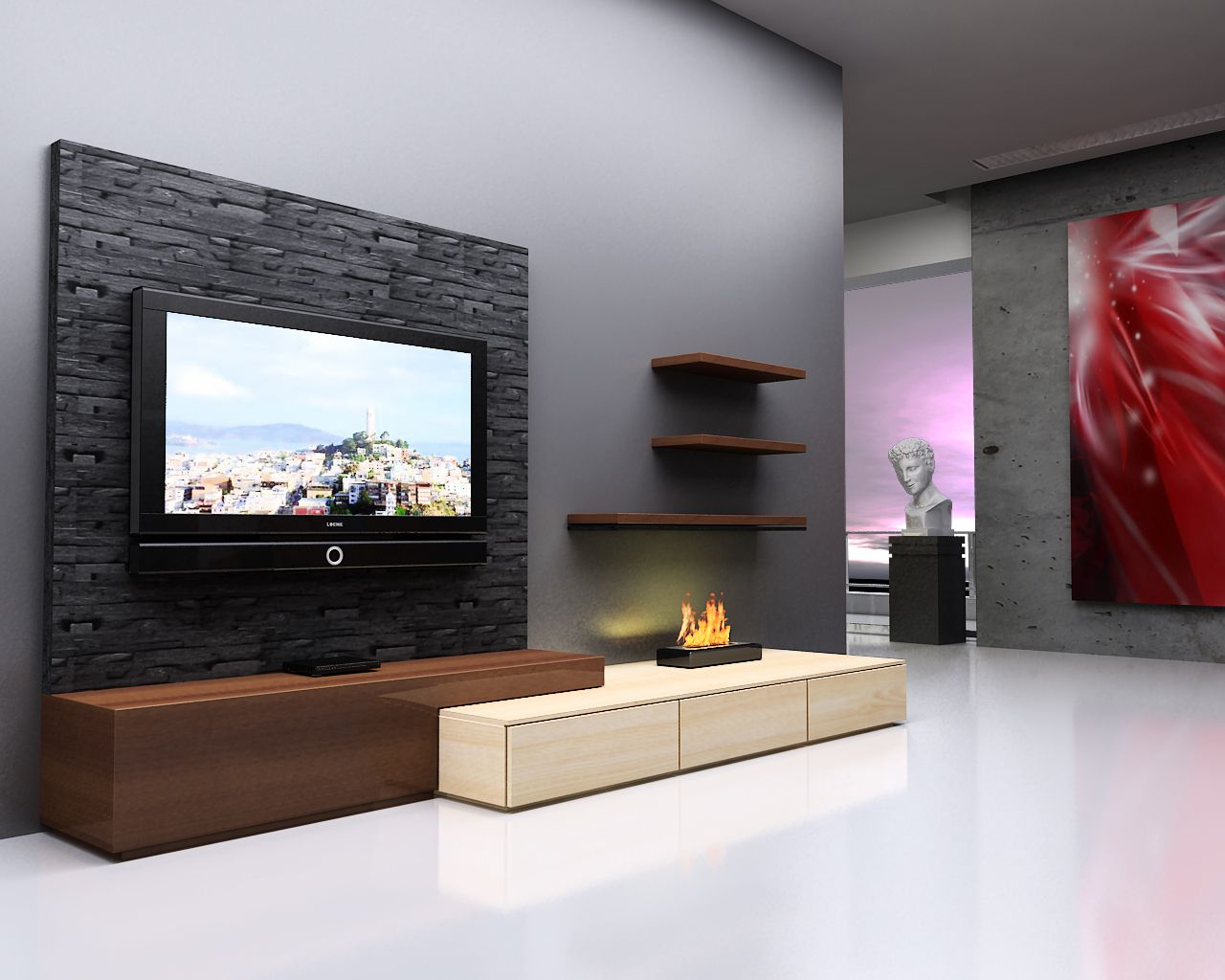 Lcd wall unit pinteres - Simple design of wall ...