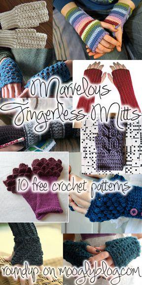 10 Marvelous Crochet Fingerless Mitts Patterns | Pinterest | Häkeln ...