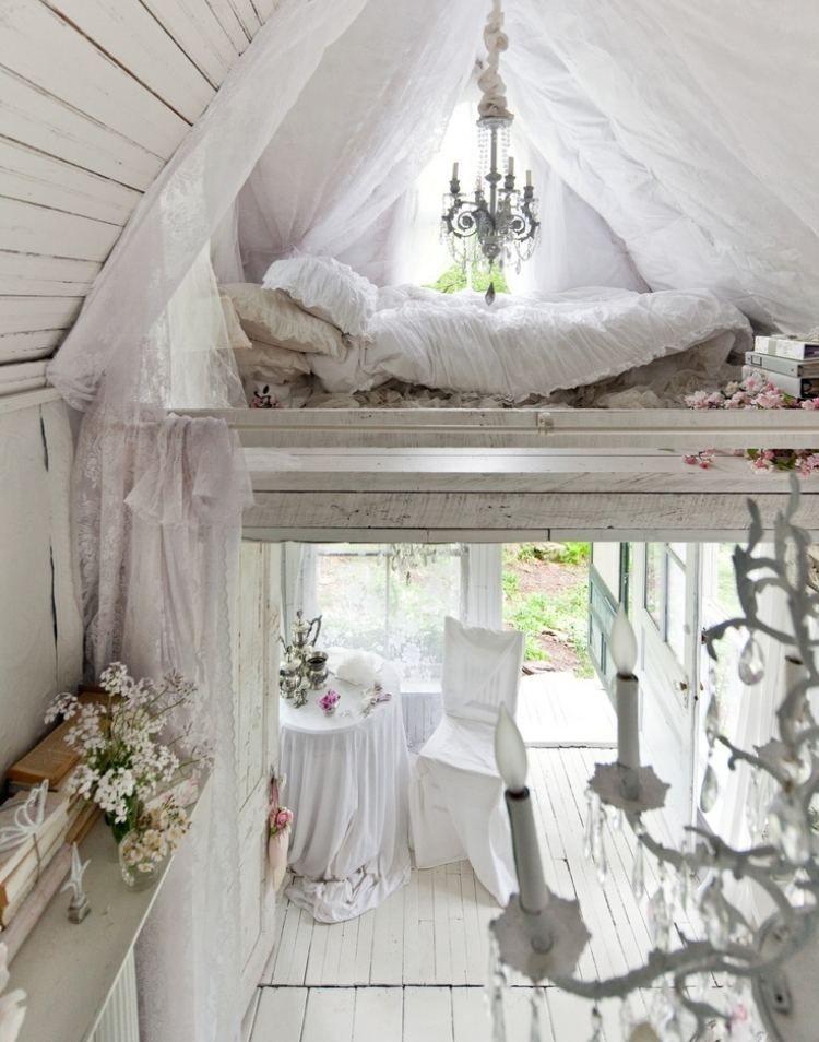 Chambre bohème – atmosphère romantique en blanc | Shabby, Bedrooms ...