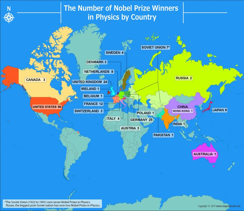 Nobel prize winners in physics by country nobel prize nobel world map shows the number of nobel prize winners in physics by country the usa gumiabroncs Image collections