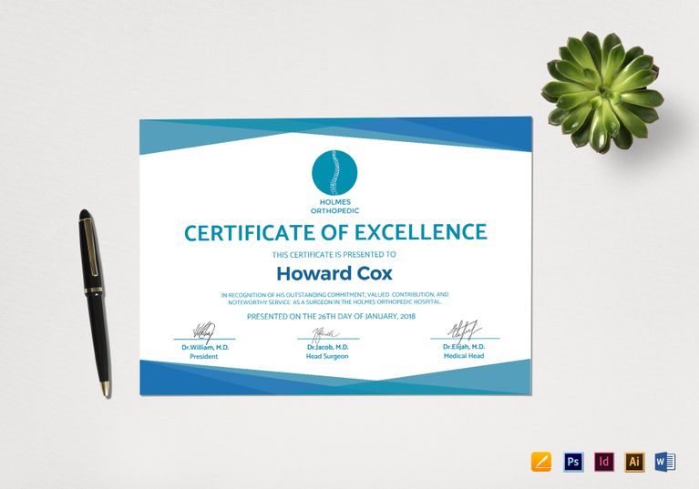 medical excellence sample certificate template 12 formats included illustrator indesign ms word pages photoshop file size 1169x826 inchs