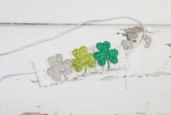 Lucky 3's - headband in green, lime green and silver and by SoTweetDesigns