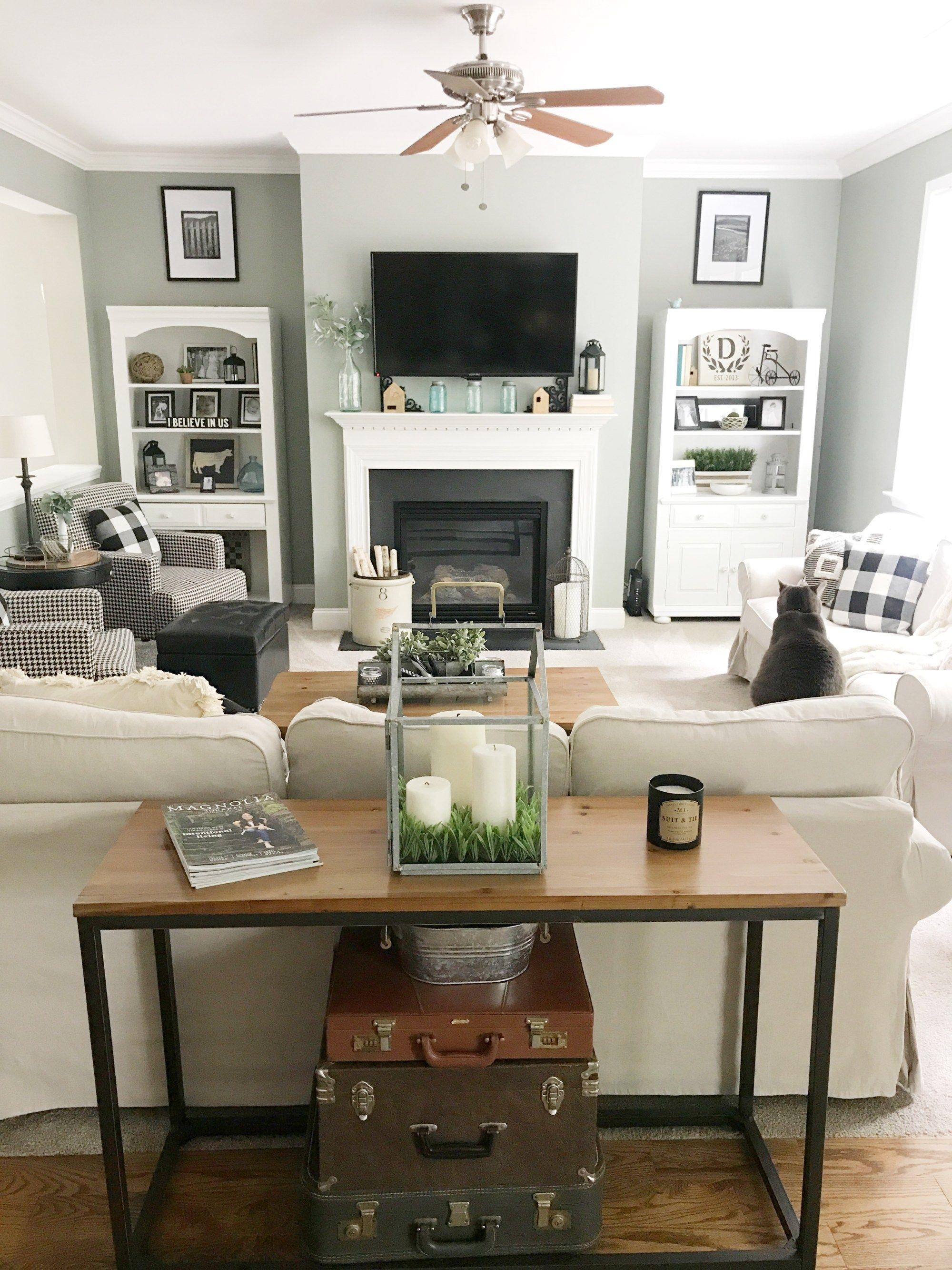Farmhouse Paint Colors   Open concept kitchen living room ...