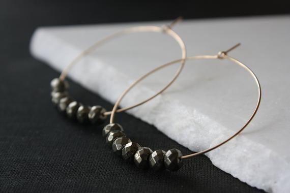 Photo of Large 14k Gold Filled Gemstone Hoops, Minimalist Golden Pyrite Hoop Earrings