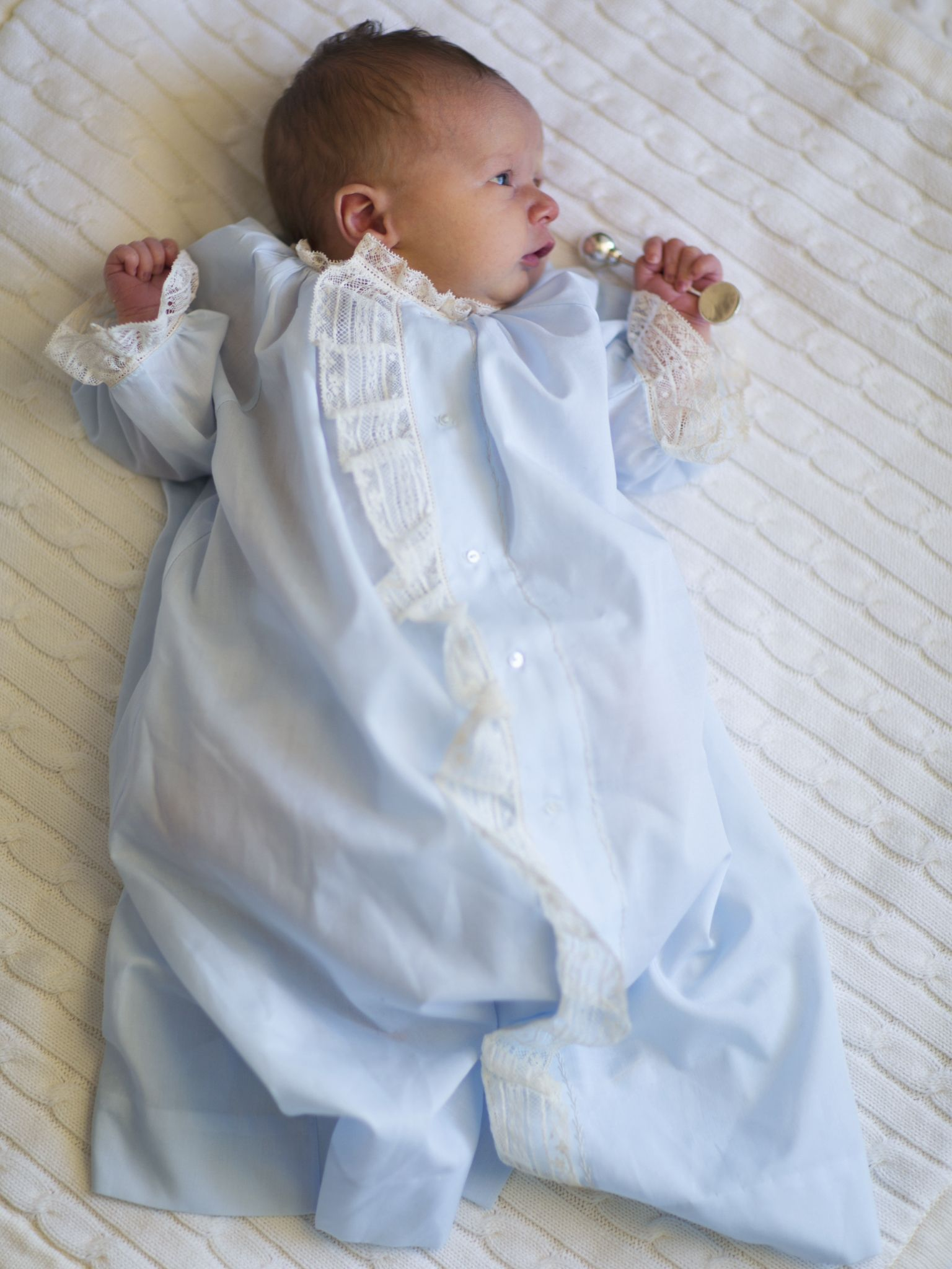 Adorable Baby Boy In His Mela Wilson Heirloom Day Gown