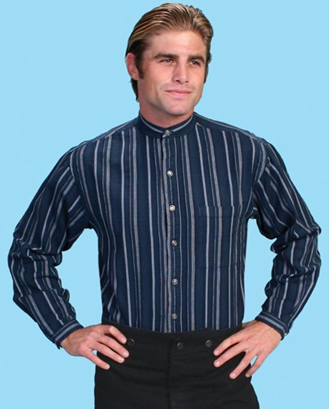 Scully Men's Blue and White Striped Long Sleeve Shirt - Western Shirts - Men's