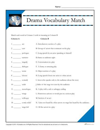 drama vocabulary match worksheet vocabulary words drama and worksheets. Black Bedroom Furniture Sets. Home Design Ideas