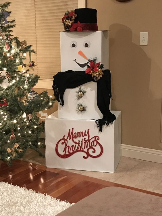 Snowman Gift Tower Ideas In 2020 Christmas Diy Creative Christmas Christmas Decorations