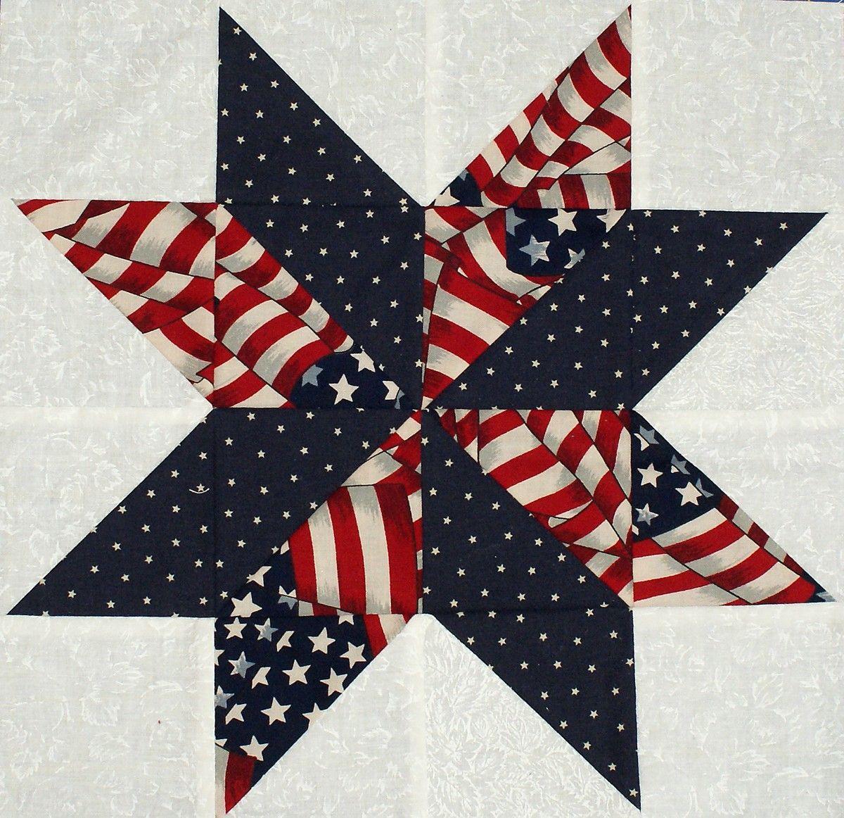 Starflower Quilt Blocks - Patriotic Flag and Star Prints | Star ... : star flower quilt block pattern - Adamdwight.com