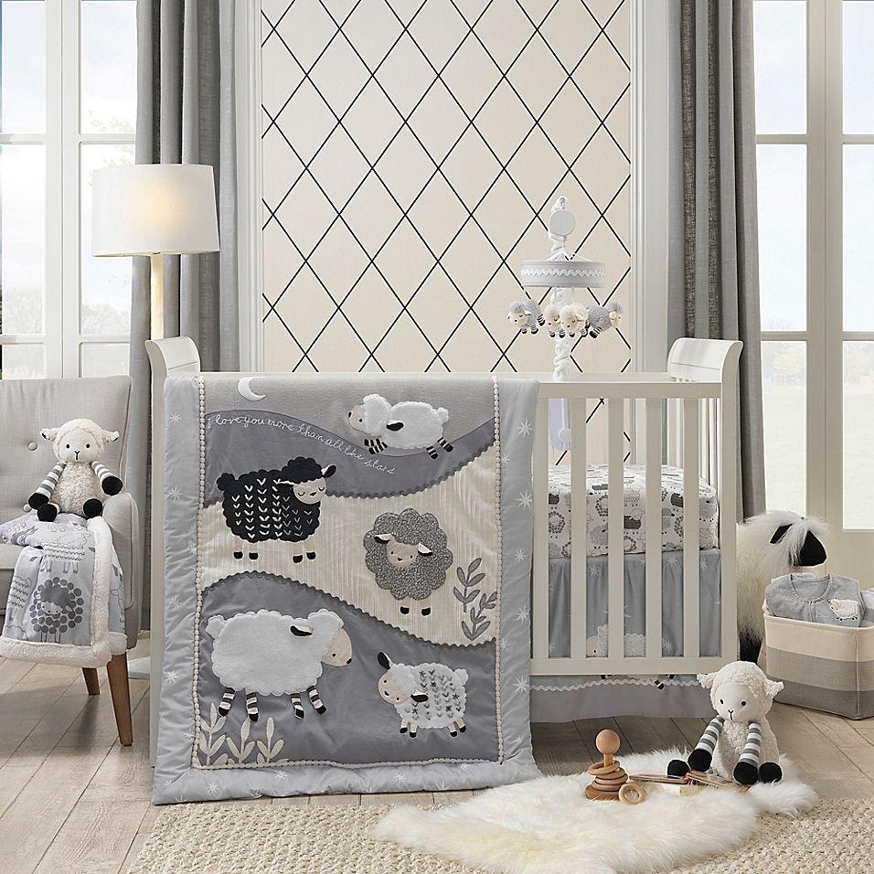 Lambs Ivy Little Sheep 4 Piece Crib Bedding Set Grey White
