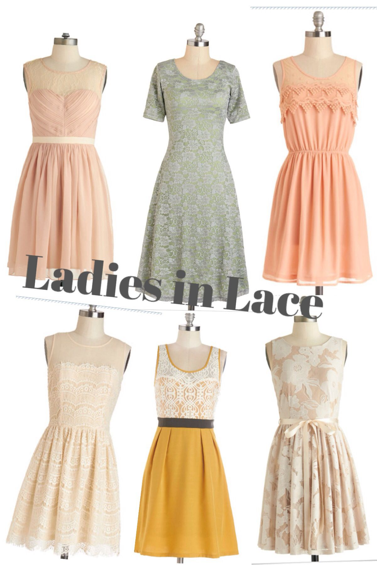 Mismatched bridesmaids dresses from modcloth with lace in gray mismatched bridesmaids dresses from modcloth with lace in gray mustard and neutral tones like the color palate ombrellifo Choice Image