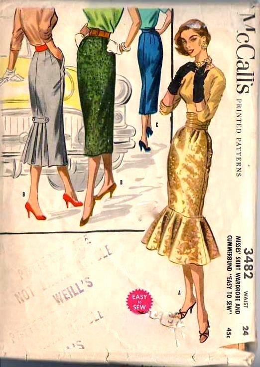 1950s Slim Skirt Sewing Pattern SIZZLING MERMAID FLOUNCE, Cummerbund ...