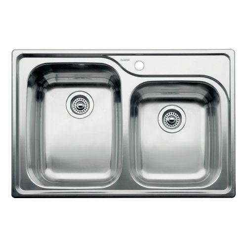 Blanco 510-885 Supreme 1-3/4 Double Bowl Drop-In Kitchen Sink, Satin ...