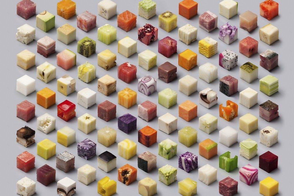 Como Designers Cortaram Cubos Simétricos de Comida