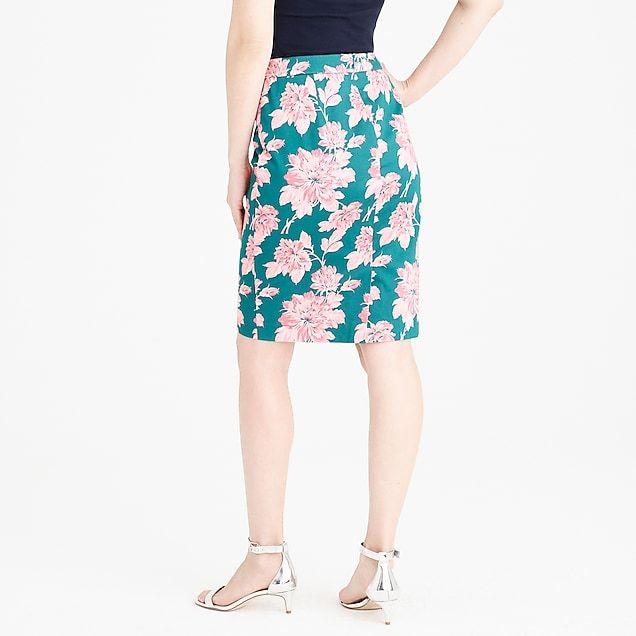printed stretch cotton sateen pencil skirt   factorywomen pencil Stretches dbb1cccb5