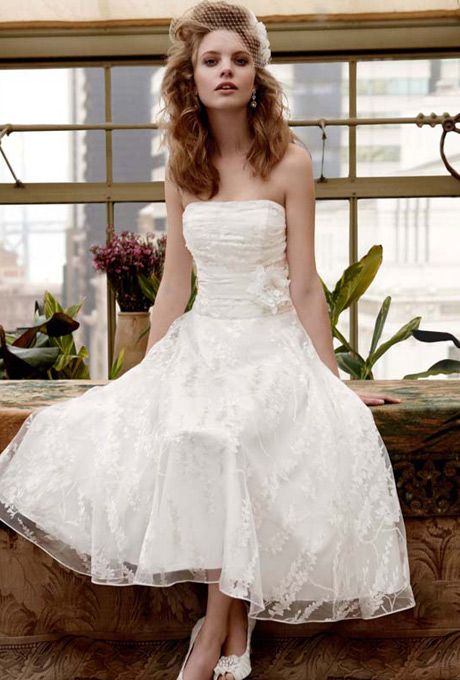David's Bridal Tea Length Printed Organza Gown with Floral ...