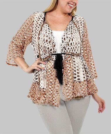 Another great find on #zulily! Beige Tie-Waist Crochet Cardigan - Plus #zulilyfinds