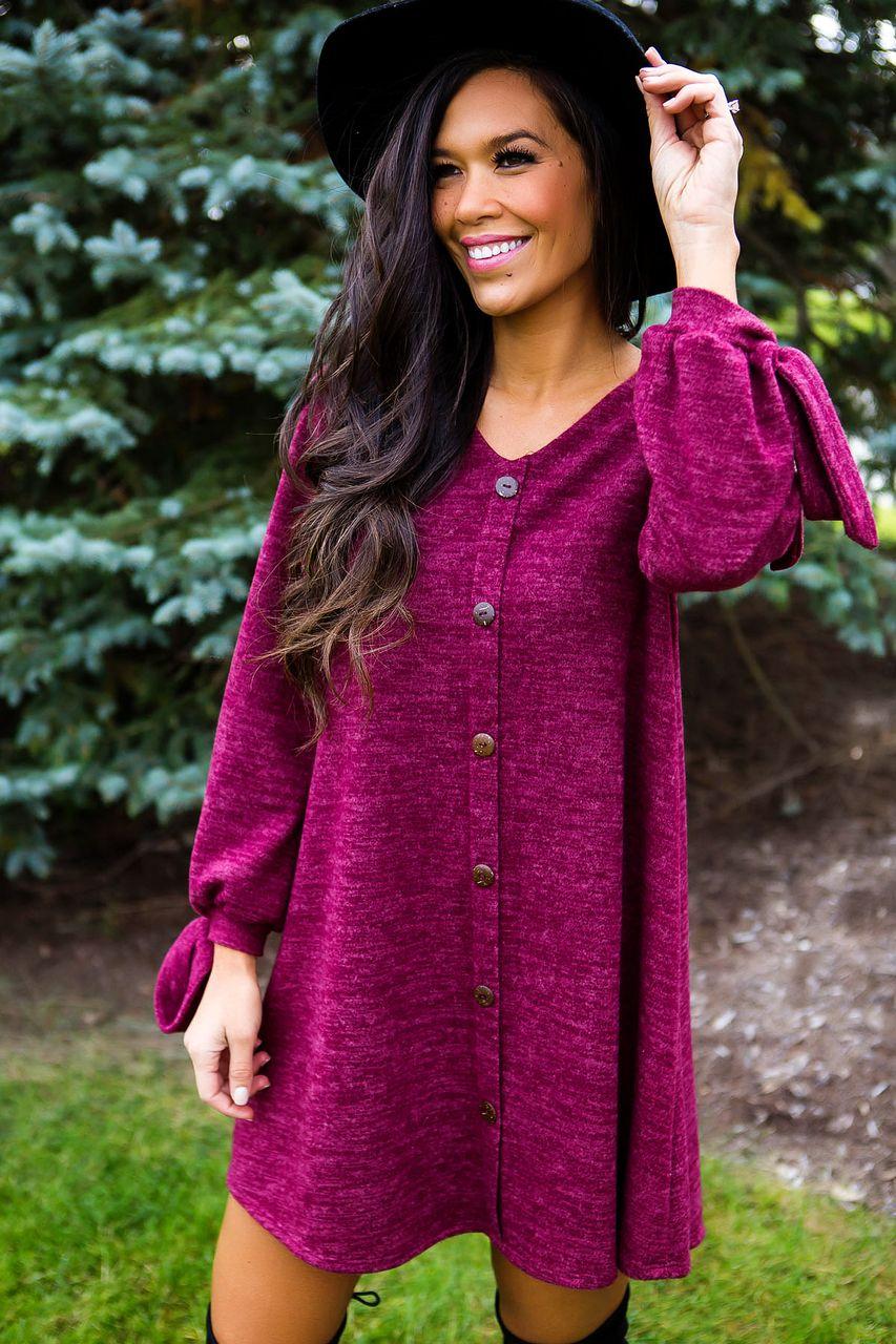 9884d72fd3c3 Burgundy Soft Button Dress - Dottie Couture Boutique
