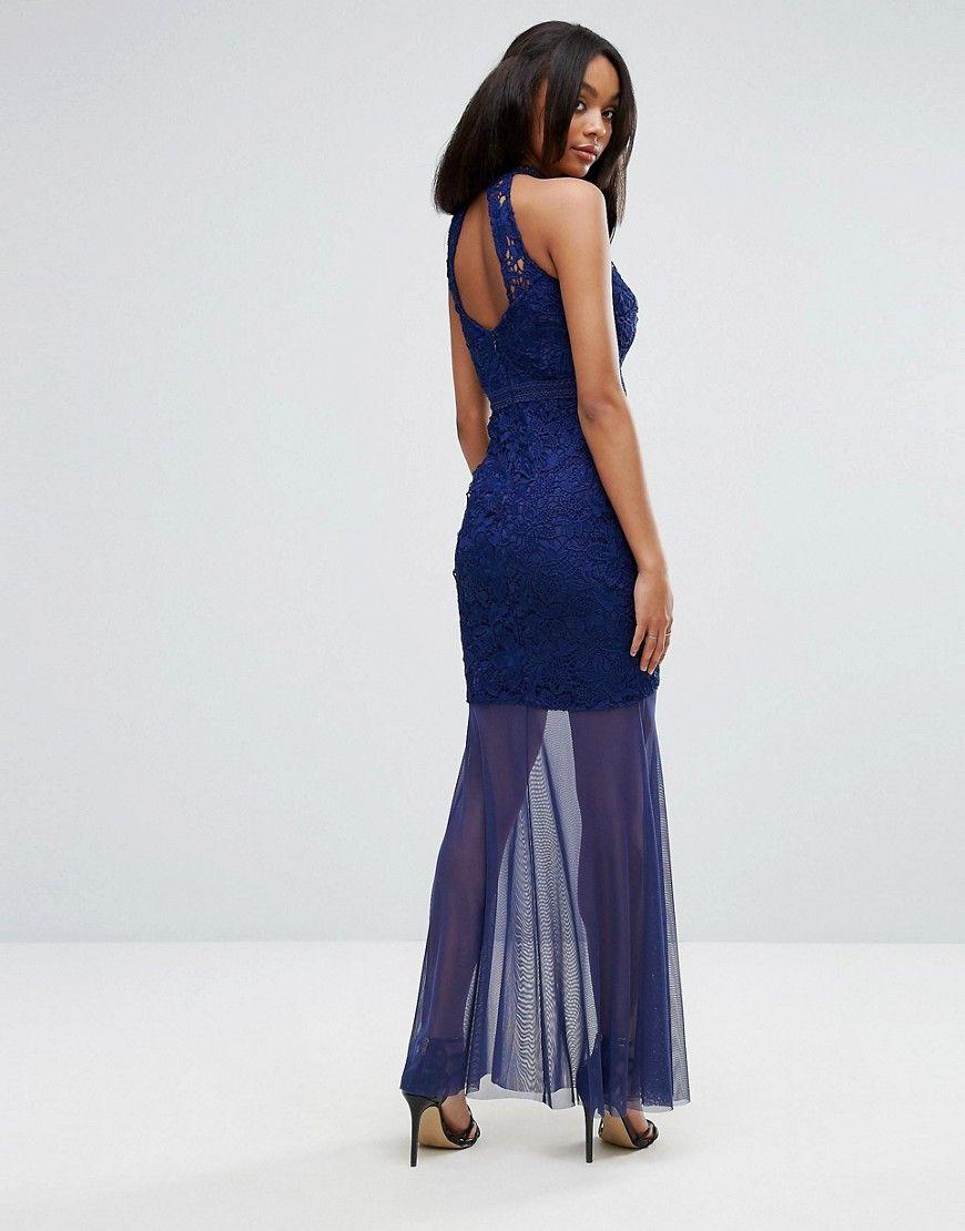 Lipsy fishtail maxi dress with crochet lace bodice navy lace