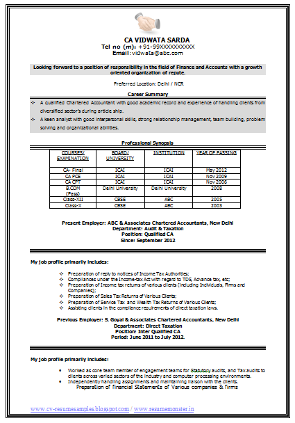 Sample Template Of An Excellent Experienced Chartered Accountant Resume With Great Career Objective And Job Profile Professional Curriculum Vitae