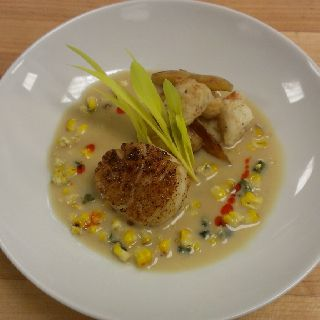 Deconstructed Crab and Corn Chowder with Cedar Planked Scallop and Corn Shoots