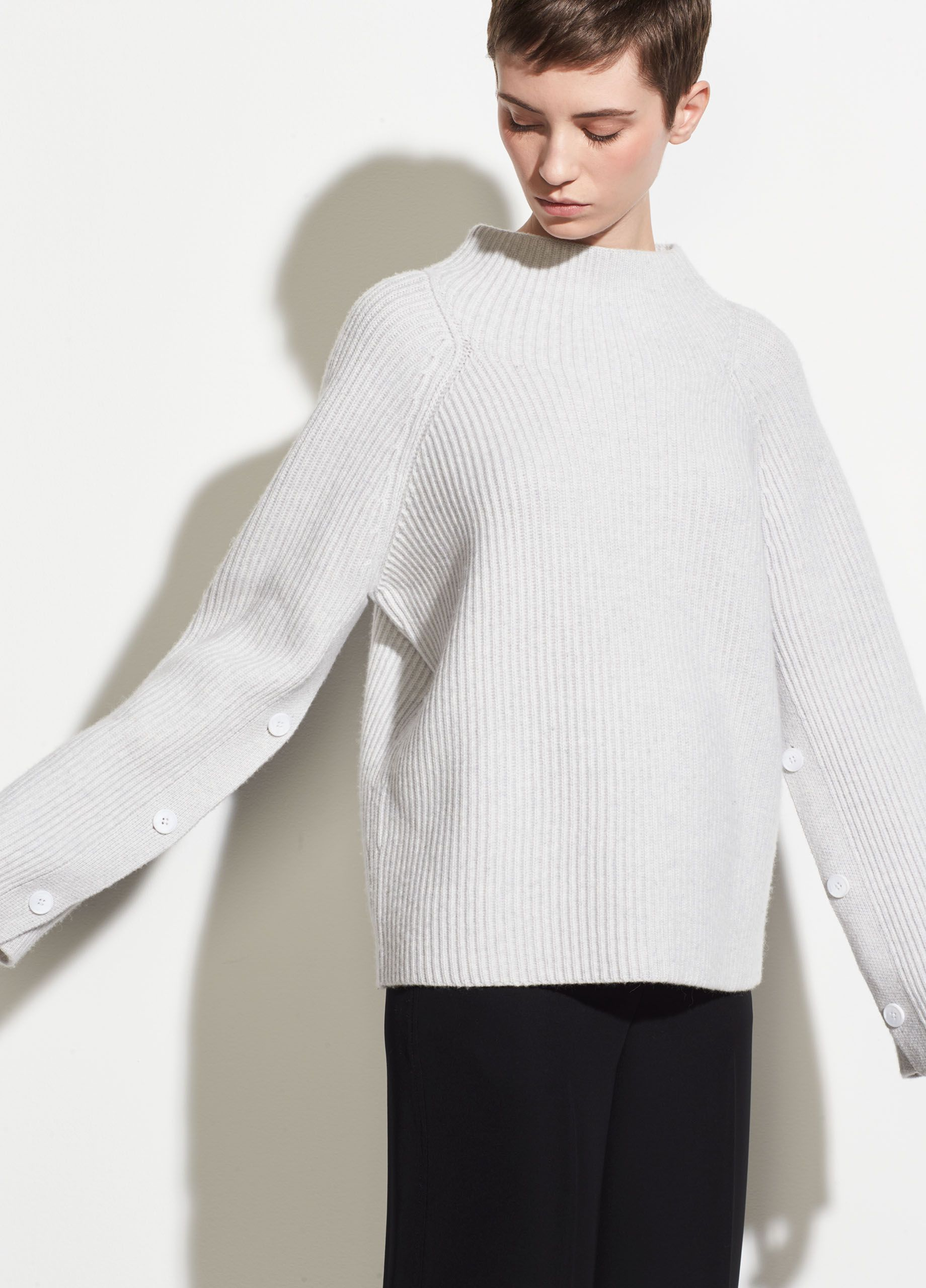 bceae7b15 Button Sleeve Funnel Neck