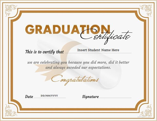 graduation certificate for ms word download at. Black Bedroom Furniture Sets. Home Design Ideas