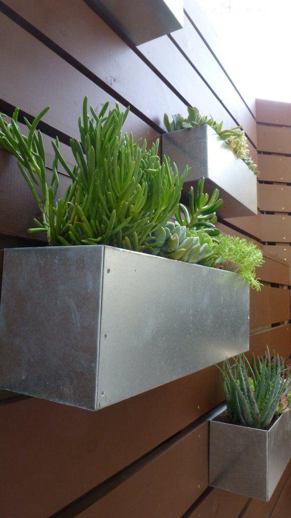 Galvanized Metal Hanging Planter Box Horizontal Fence Succulent Wall Herbs Modern Mcm