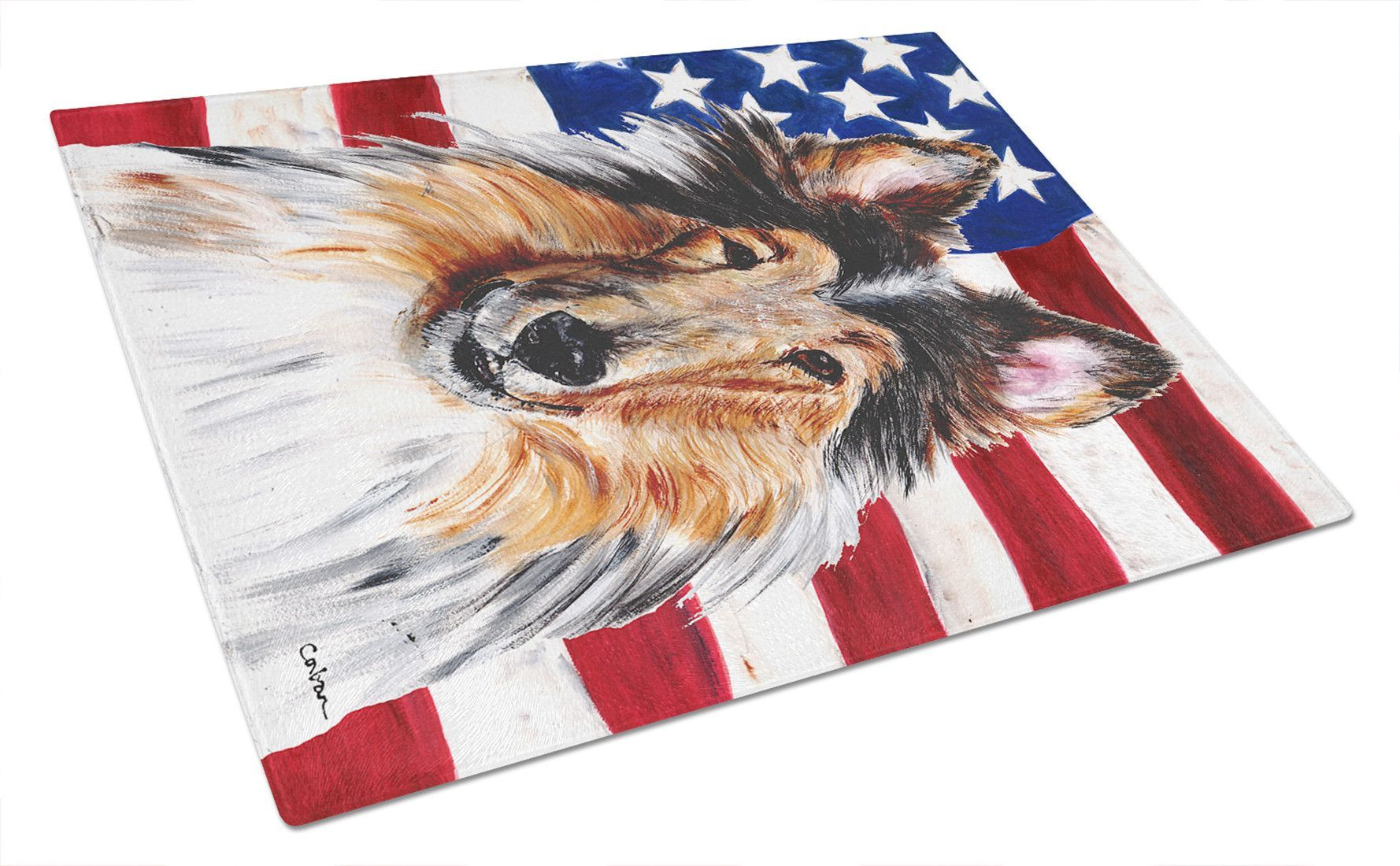 Collie with American Flag USA Glass Cutting Board Large Size SC9622LCB