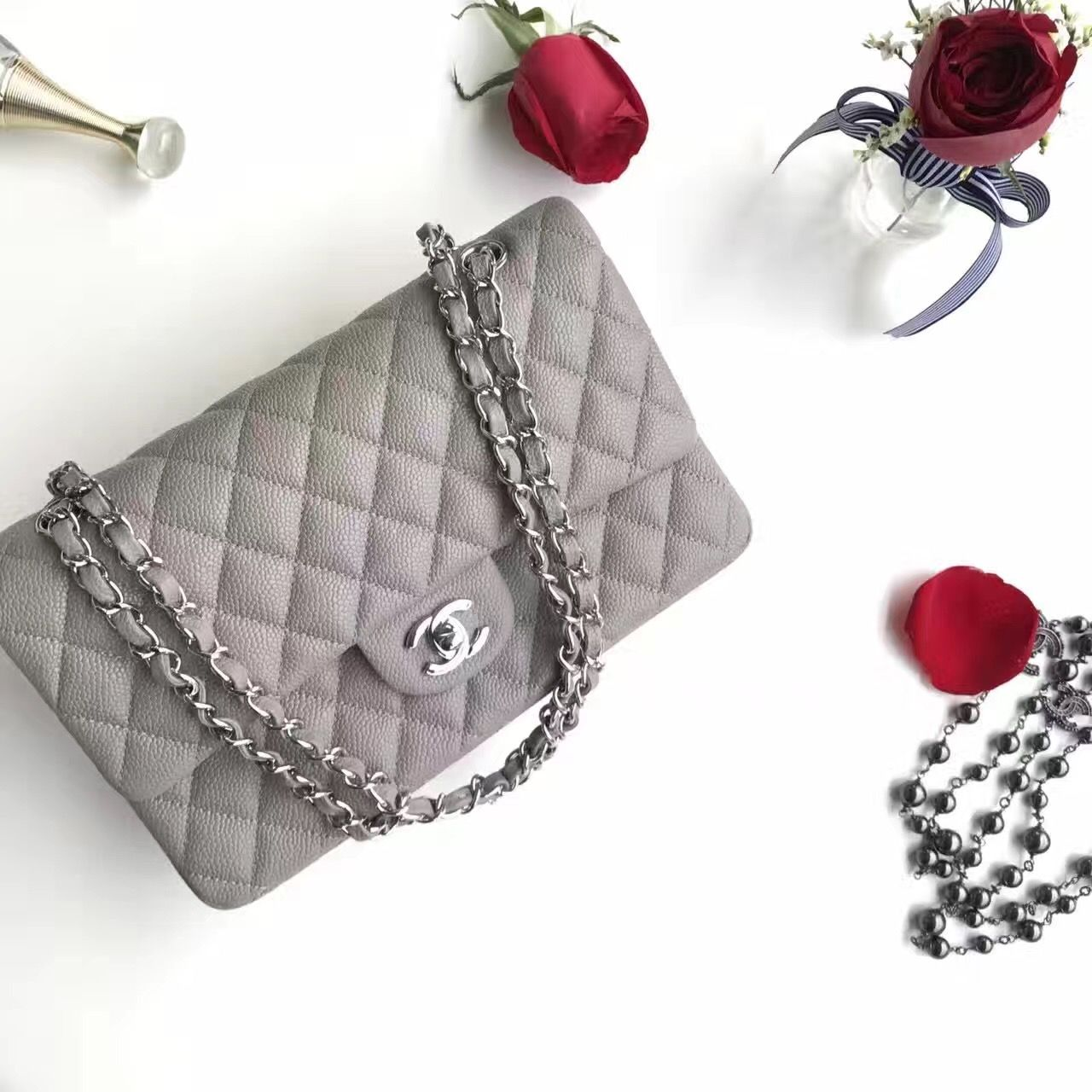 63a30c35f619f2 Authentic Quality 1:1 Mirror Replica Chanel Classic Flap Bag Grey Caviar  Leather Silver Hardware
