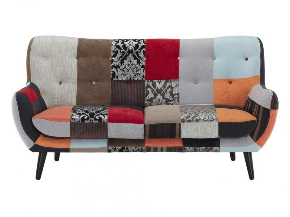 canap 3 places en tissu flavio patchwork nuances rouge et orange meubles du monde. Black Bedroom Furniture Sets. Home Design Ideas