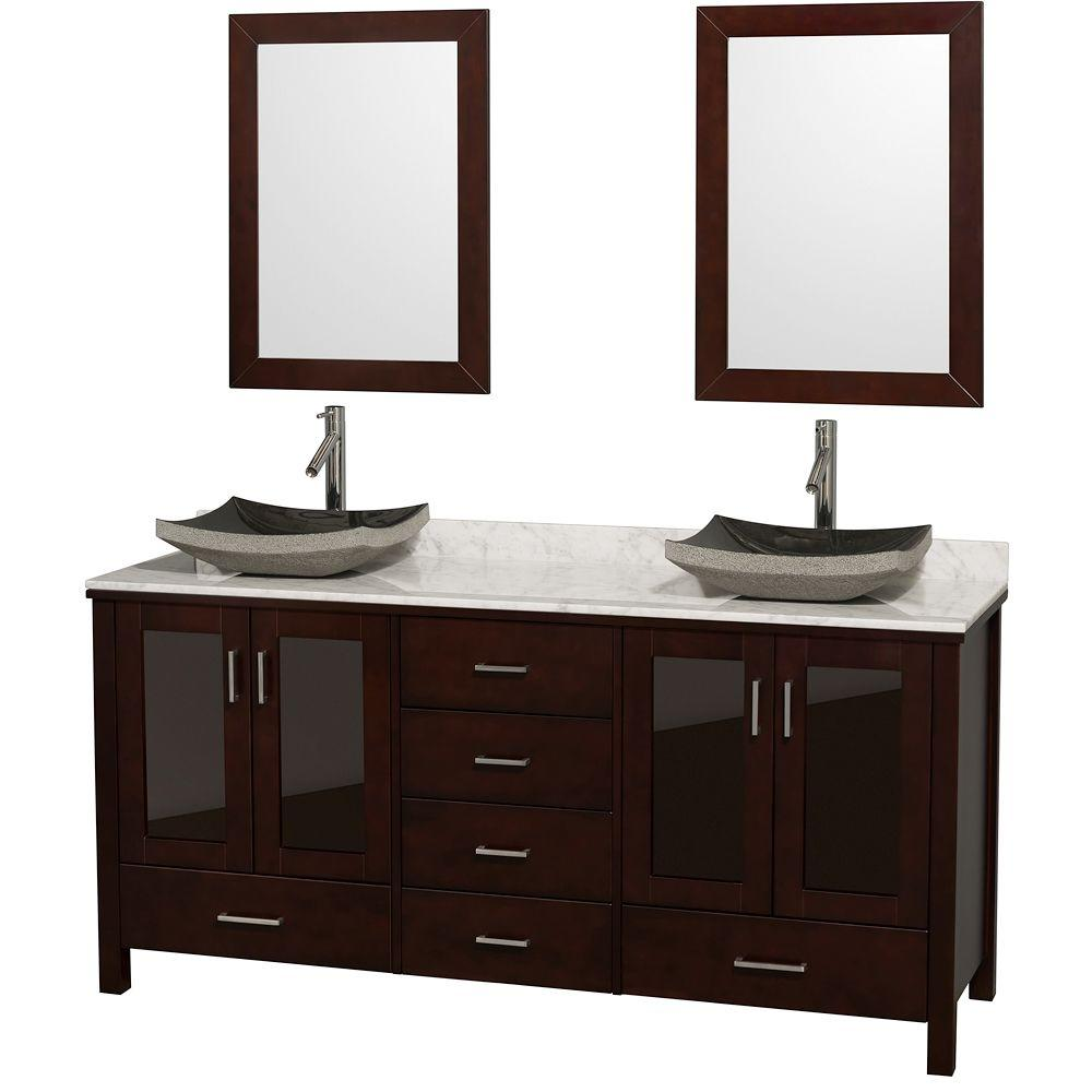 Wyndham Collection Lucy 72 In Vanity In Espresso With Marble