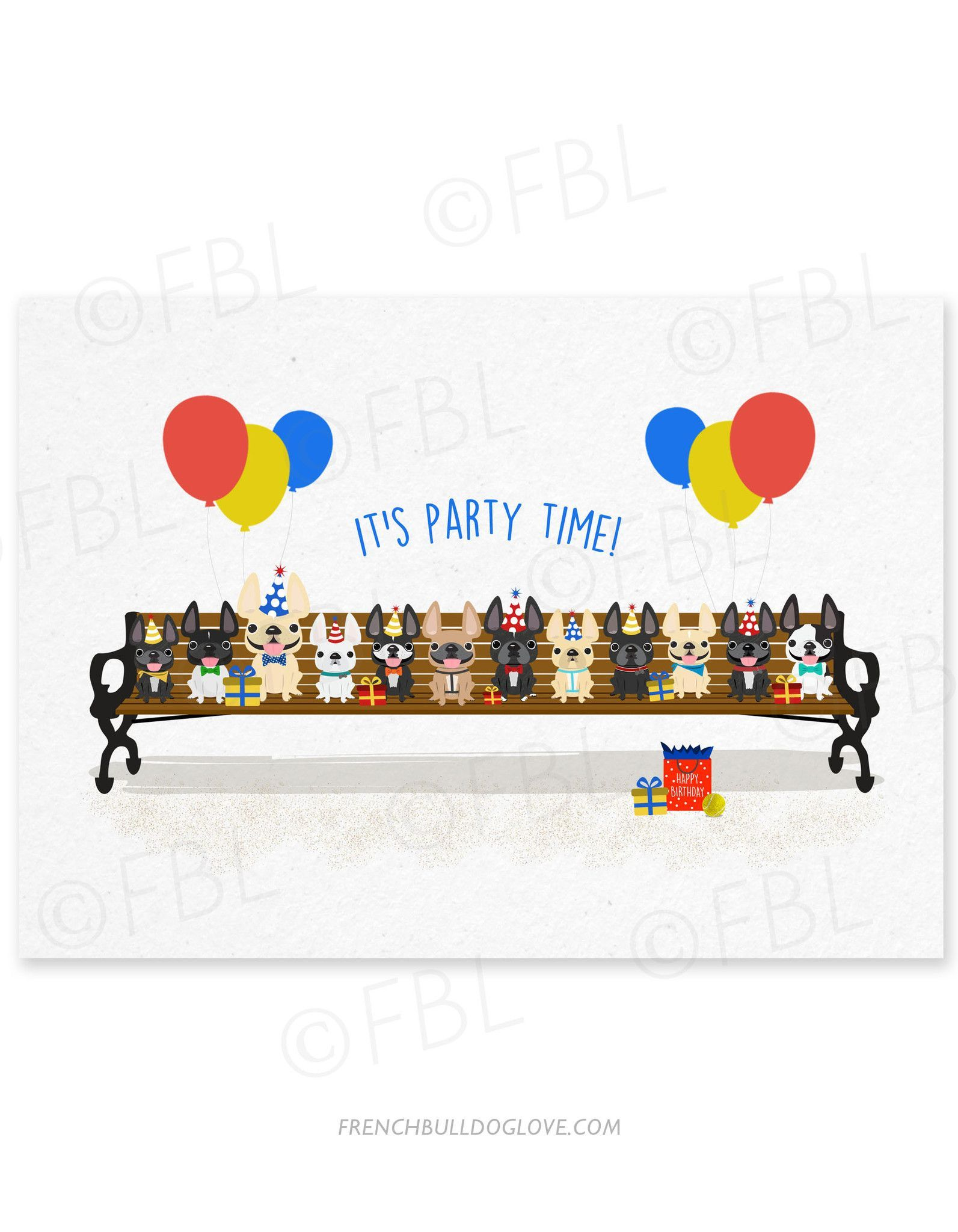 Puppy Party French Bulldog Birthday Card Puppy Party Birthday Cards Dog Greeting Cards