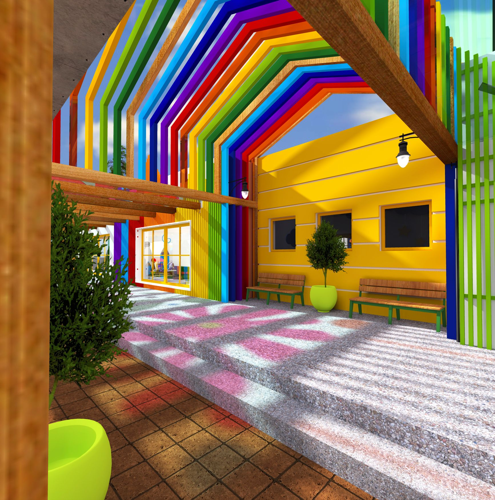 Kindergarten Exterior Design - Colorful Spaces - Mandala Floor -